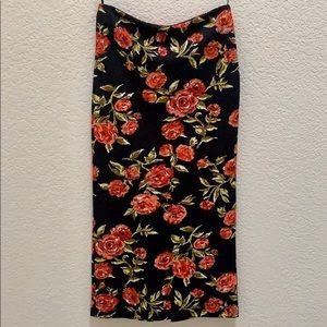Rose print pencil skirt